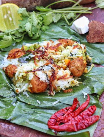 Aromatic Curd Rice Wrapped in Banana leaf