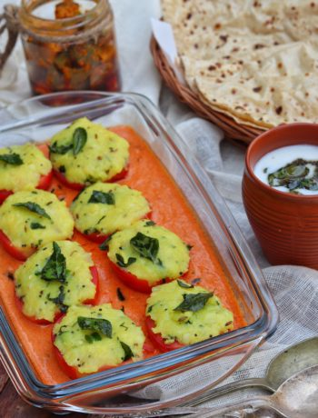 Stuffed Tomatoes Baked in a Makhani Gravy